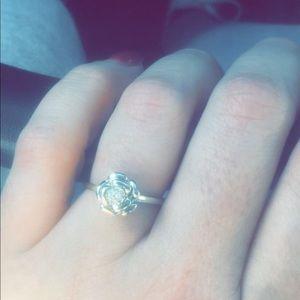 Silver flower diamond promise ring